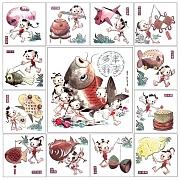 童子戏鱼图二稿