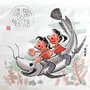 金龙双童图
